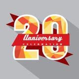 20 år årsdagberömdesign Arkivfoton
