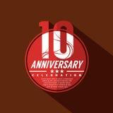 10 år årsdagberömdesign stock illustrationer