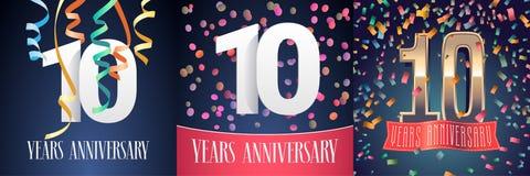 10 år årsdagberömuppsättning av vektorsymboler royaltyfri illustrationer