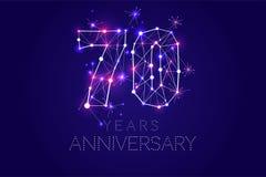 70 år årsdagdesign Abstrakt form med förbindelselinjer Royaltyfri Fotografi