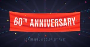 60 år årsdagdesignberöm Händelse 60th för parti för garnering för årsdag för röd flagga bithday vektor illustrationer