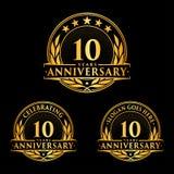 10 år årsdagdesignmall Årsdagvektor och illustration 10th logo stock illustrationer