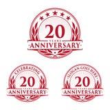 20 år årsdagdesignmall Årsdagvektor och illustration 20th logo vektor illustrationer