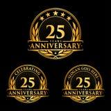 25 år årsdagdesignmall Årsdagvektor och illustration 25th logo vektor illustrationer