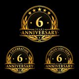 6 år årsdagdesignmall Årsdagvektor och illustration 6th logo royaltyfri illustrationer