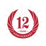 12 år årsdagdesignmall Elegant årsdaglogodesign Tolv år logo royaltyfri illustrationer