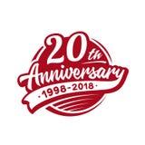 20 år årsdagdesignmall Vektor och illustration 20th logo stock illustrationer
