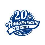 20 år årsdagdesignmall Vektor och illustration 20th logo royaltyfri illustrationer
