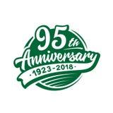 95 år årsdagdesignmall Vektor och illustration 95th logo stock illustrationer