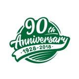 90 år årsdagdesignmall Vektor och illustration 90th logo royaltyfri illustrationer