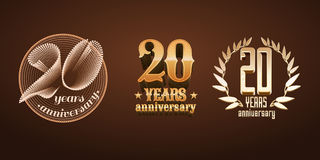 20 år årsdaguppsättning av vektorlogoen, symbol, nummer Arkivbilder