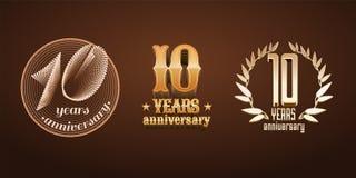 10 år årsdaguppsättning av vektorlogoen, symbol, nummer Royaltyfria Bilder