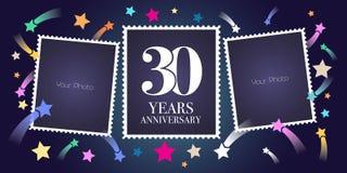 30 år årsdagvektoremblem, logo Royaltyfria Bilder