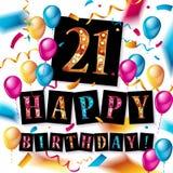 21 år årsdagvektorillustration Arkivfoto