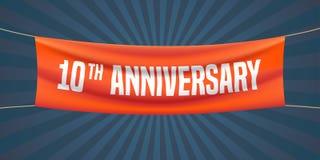 10 år årsdagvektorillustration, baner, reklamblad, logo, symbol Arkivbilder