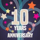 10 år årsdagvektorillustration, baner, reklamblad, symbol Arkivbild