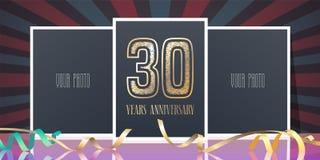 30 år årsdagvektorsymbol, logo Royaltyfria Bilder