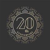 20 år årsdagvektorsymbol, logo Royaltyfri Bild