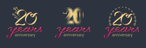 20 år årsdagvektorsymbol, logouppsättning Royaltyfri Fotografi