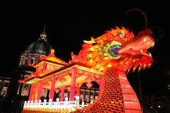 År av drakekonstinstallationen Royaltyfria Bilder
