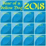 2018 - År av en gul hund Royaltyfri Fotografi