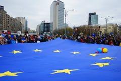 60 år av europeisk union, Bucharest, Rumänien Arkivbild