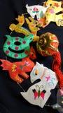 År av geten, den kinesiska zodiaken och det röda latern Royaltyfria Bilder