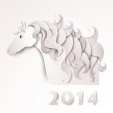 År av hästen. Pappers- utklipp royaltyfri illustrationer
