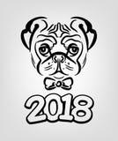 År av hunden 2018 Royaltyfri Bild