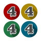 4 år av service, 4 år som firar 4 år, 4 årsdag - uppsättning royaltyfri illustrationer
