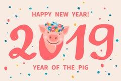 2019 år av SVINET Royaltyfria Bilder