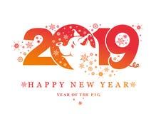 År av svinet 2019 Kort för nytt år med modellen 2019 och charmigt svin och snöflingor vektor illustrationer