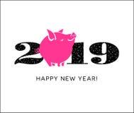 2019 år av svinet med det gulliga lilla svinet royaltyfri illustrationer
