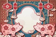 År av svinhälsningdesignen vektor illustrationer