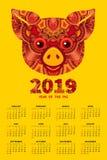 2019 år av SVINkalendern Royaltyfri Fotografi