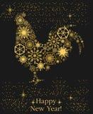 År av tuppen Guld- hane för ` s för nytt år på en svart bakgrund Royaltyfria Foton