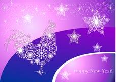 År av tuppen Hane för ` s för nytt år på moderiktig lila-rosa färger backg Arkivbild