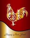 År av tuppen Vykort med en hane i det nya året Royaltyfria Bilder