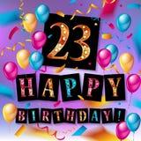 23 år beröm lycklig födelsedagkorthälsning Arkivfoto
