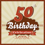 50 år beröm, 50th retro kort för lycklig födelsedag Royaltyfria Foton