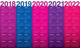 År 2018 calendar 2019 2020 2021 2022 vektorn Royaltyfri Bild