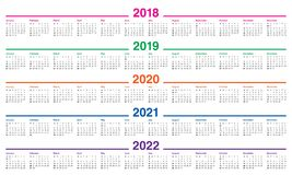 År 2018 calendar 2019 2020 2021 2022 vektorn Fotografering för Bildbyråer