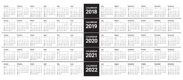 År 2018 calendar 2019 2020 2021 2022 vektorn Royaltyfri Illustrationer