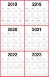 År 2018 calendar 2019 2020 2021 2022 2023 vektorn Arkivbild
