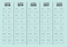 År 2018 calendar 2019 2020 2021 2022 vektorn Arkivbild