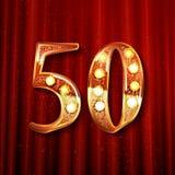 50 år enkel logo för guld- årsdagberöm Arkivbild