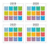 År 2019 2020 2021 2022 färgrika franska kalendrar royaltyfri illustrationer