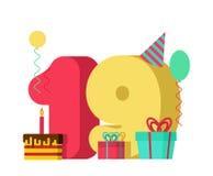 19 år födelsedagtecken 19th årsdag c för mallhälsningkort Royaltyfri Bild