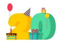 20 år födelsedagtecken 20th årsdag c för mallhälsningkort Arkivfoto