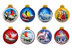 år för 2007 bolljul Leksaker för ` s för nytt år ekologiskt trä för julgarneringar Arkivbilder